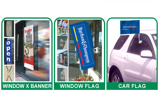 Window Flags Car Flags Contact Displays Portable Display Stands Products X